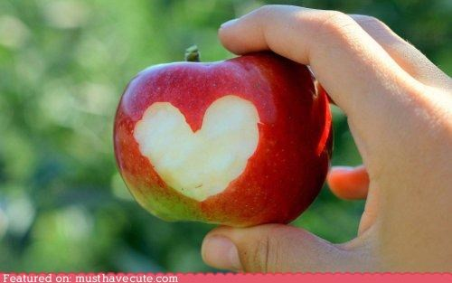 apple bite epicute heart red