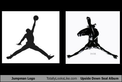 album cover,basketball,jump man,logo,logos,michael jordan,musician,musicians,nike,seal,singer,upside down
