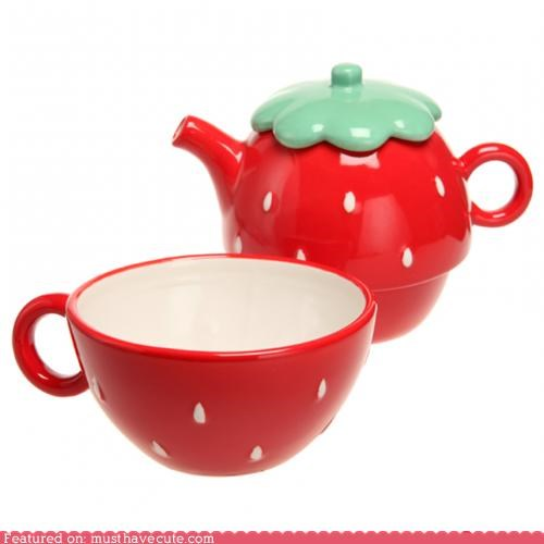 red strawberry tea teacup teapot - 5097544448