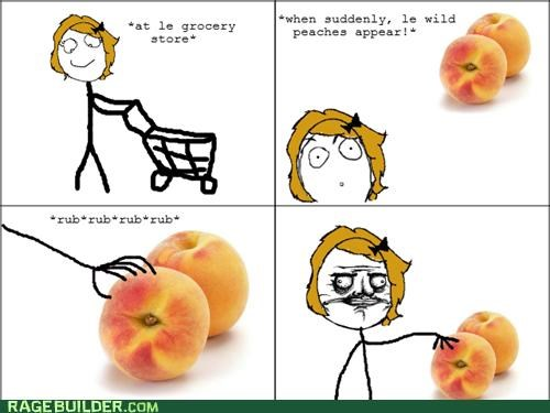 groceries,peach fuzz,peaches,Rage Comics,shopping