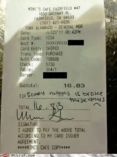 broke,Hall of Fame,receipt,tip