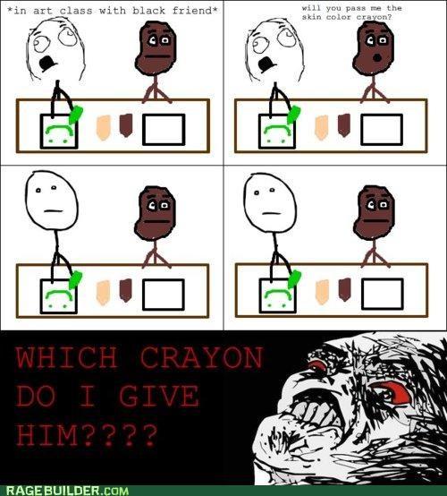 Awkward,crayon,racism,Rage Comics,skin color