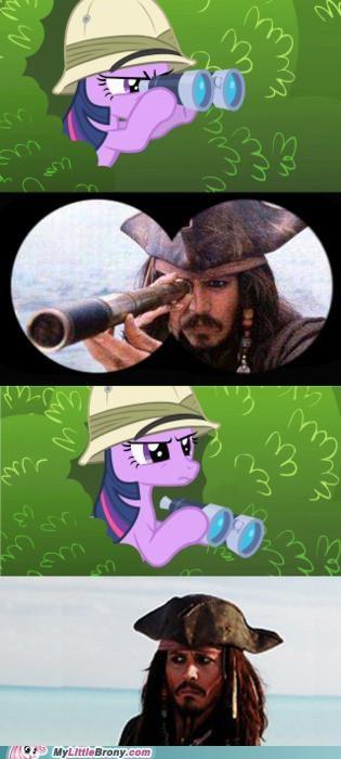 binoculars,jack sparrow,Johnny Depp,stare,twilight sparkle