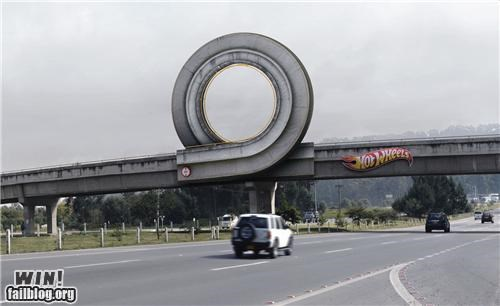 advertising,freeway,highway,Hot Wheels,overpass