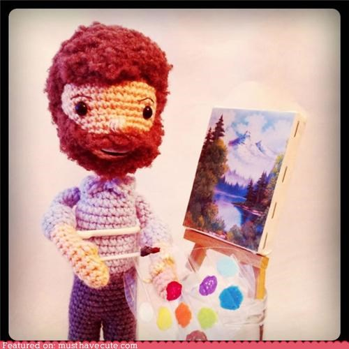 Amigurumi,bob ross,landscape,painter,Plush