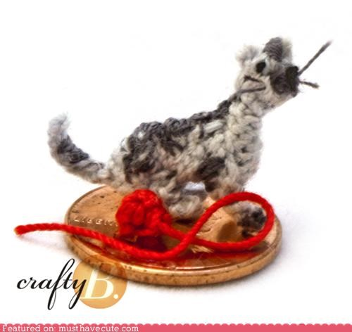 Amigurumi cat Crocheted Knitted miniature tiny yarn - 5099449344