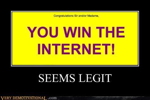 congratulations impossible seems legit the interent you win - 5099915520