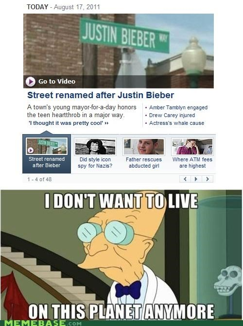 day i dont want to live on this planet anymore justin bieber mayor road sign - 5099954432