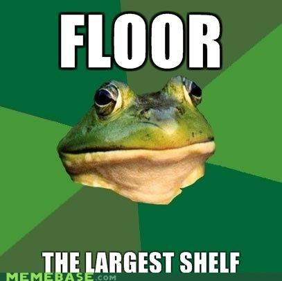 animemes,floor,foul bachelor frog,shelf,space
