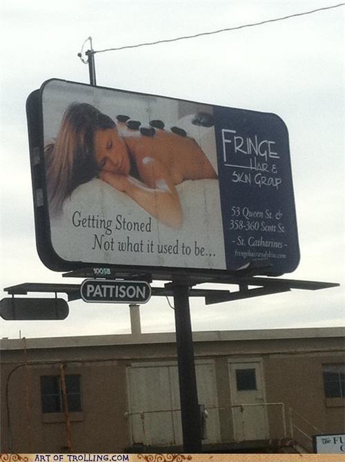 billboard IRL massage stoned