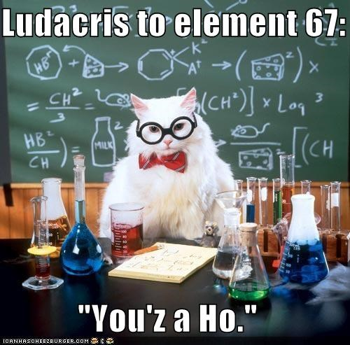 animals,Cats,chemistry cats,elements,ho,holmium,I Can Has Cheezburger,ludacris,rappers,science