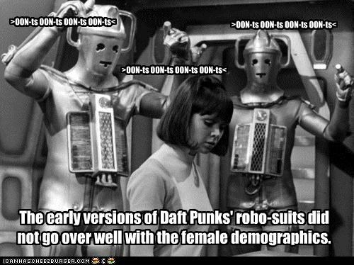 cybermen,daft punk,doctor who,femals,historic lols,Music,robots,women