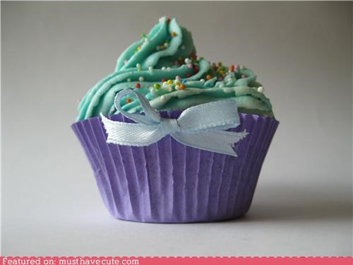 bow cupcake epicute green purple sprinkles - 5101358336