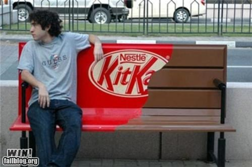 advertising,bench,candy,kitkat