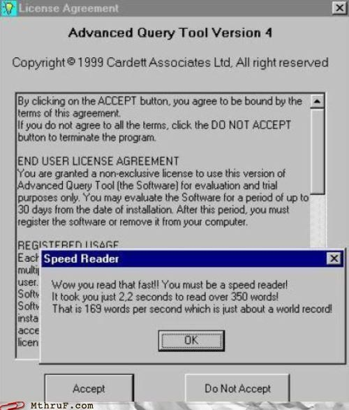 Hall of Fame,license agreement,speed reader,terms and agreement