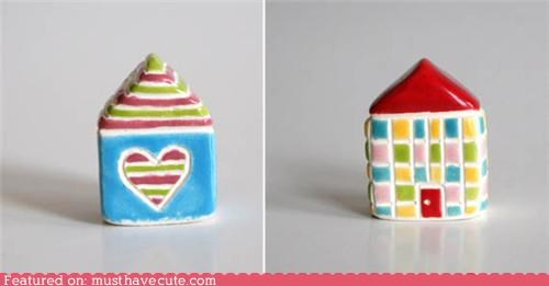 ceramic colorful houses sculpture - 5103266560