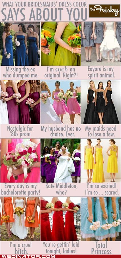 bridesmaids colors dresses funny wedding photos infographic - 5103336960
