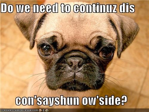 Do we need to continuz dis con'sayshun ow'side?