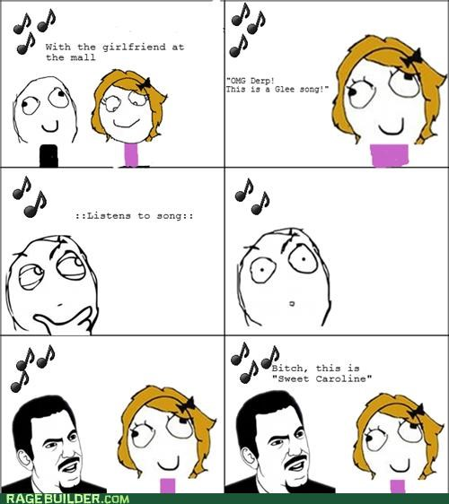 glee,Music,Rage Comics,sweet caroline