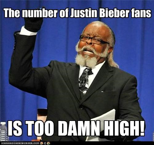 The number of Justin Bieber fans IS TOO DAMN HIGH!