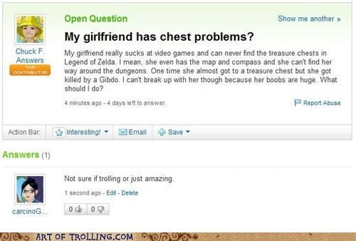 Yahoo Answers question about finding chest in Zelda. Probably a troll.