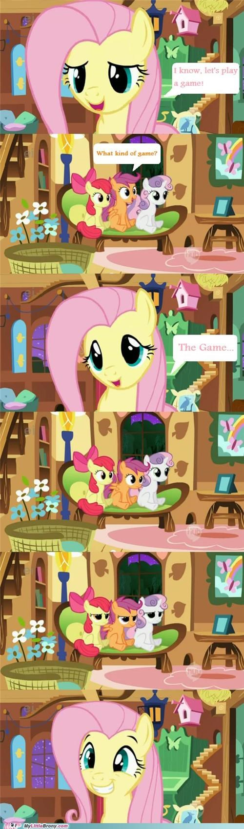 comics,cutie mark crusaders,fluttershy,the game
