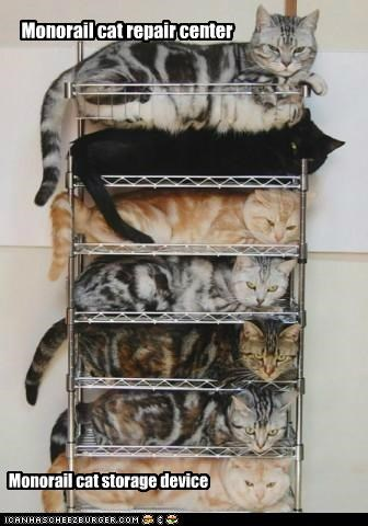 Monorail cat repair center Monorail cat storage device