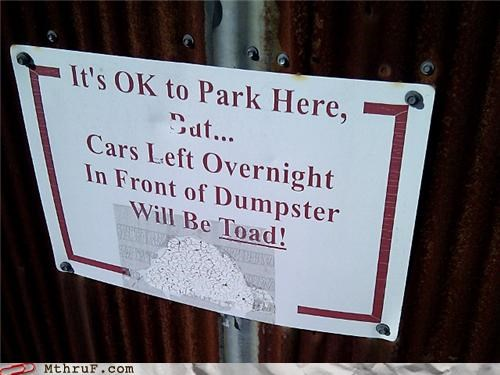 parking sign toad towed