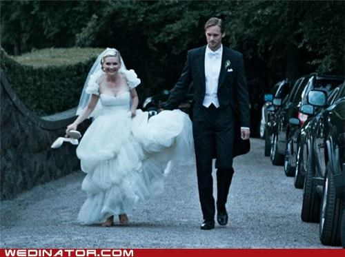 funny wedding photos,Kirsten Dunst,Melancholia,wedding dress,weddings at the movies