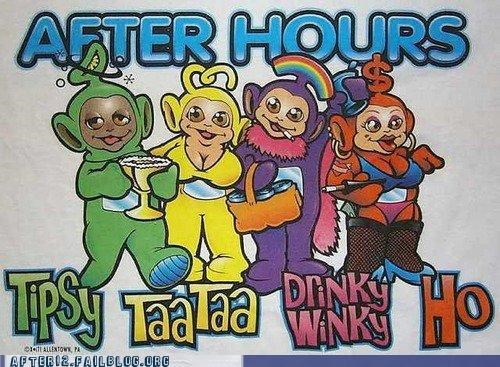 After Hours,big kid,Hall of Fame,ho,teletubbies,tipsy