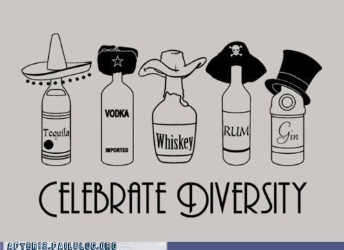 diversity,gin,rainbow,Rum,tequila,vodka,whiskey