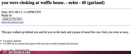 Screen-grab of an ad on Craigslist of a person looking for someone they say hurling meat out of their mouth in a waffle house.