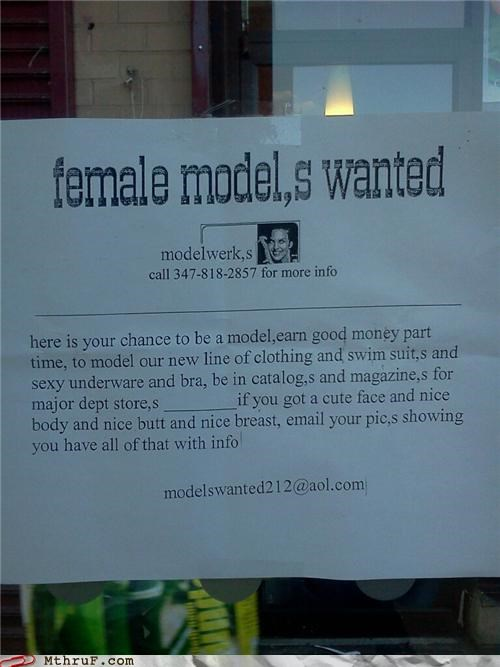 advertisement,model,modelling,sign,want ad