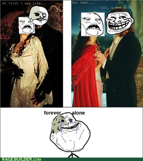 forever alone,Phantom,phantom of the opera,Rage Comics,sweet jesus have mercy
