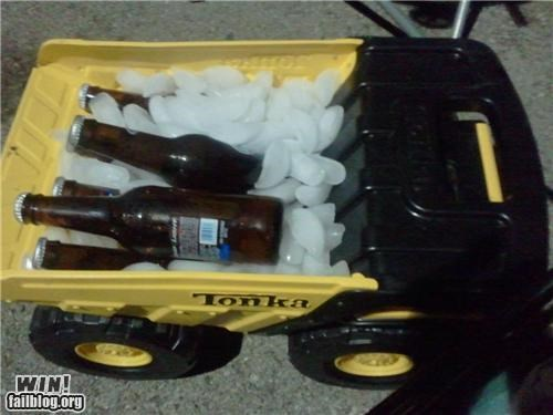 beer,fridge,ice,problem solved,tonka,toy,truck
