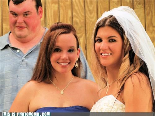 awesome bride derp funny wedding photos Garter photobomb that face wedding