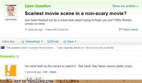 justin bieber,never say never,scary movie,Yahoo Answer Fails