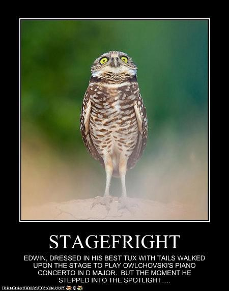 STAGEFRIGHT EDWIN, DRESSED IN HIS BEST TUX WITH TAILS WALKED UPON THE STAGE TO PLAY OWLCHOVSKI'S PIANO CONCERTO IN D MAJOR. BUT THE MOMENT HE STEPPED INTO THE SPOTLIGHT.....