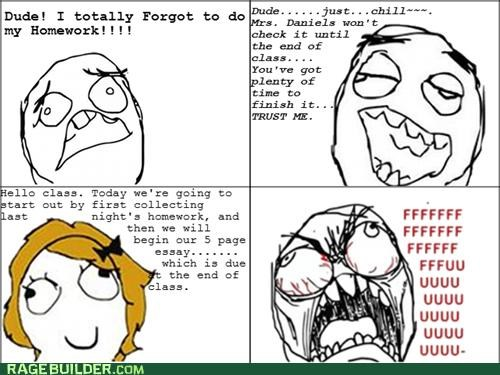 essay homework in class Rage Comics