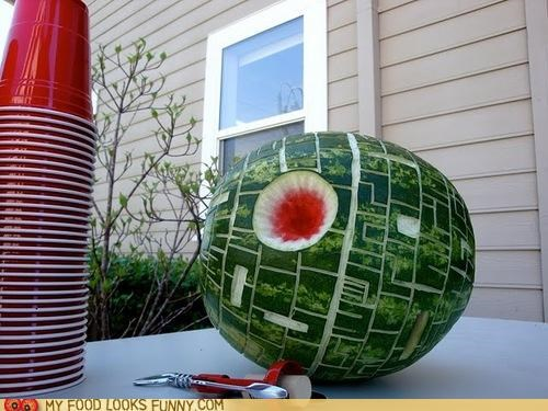 bbq carved Death Star star wars watermelon