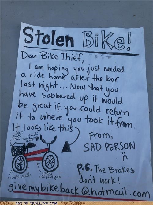 bike,IRL,sign,stolen