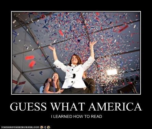 celebration confetti illiteracy Michele Bachmann politicians Pundit Kitchen reading - 5115300096