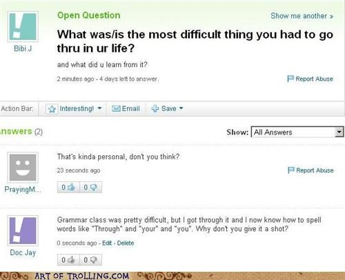 class,difficult,grammar,school,Yahoo Answer Fails
