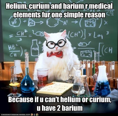 animals barium Cats chemistry cat curium elements helium I Can Has Cheezburger medical Memes puns