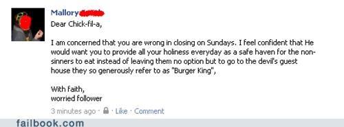 burger king chick fil-a religion sundays - 5116843264