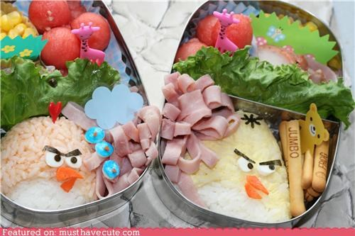 angry birds,artistic,bento,decorative,epicute,fruit,ham,meat,rice,veggies