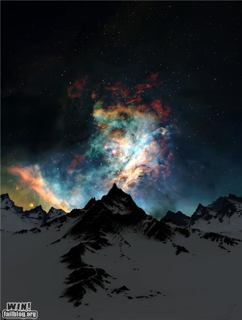galaxy,landscape,milky way,mother nature ftw,mountains,night,snow,space,stars