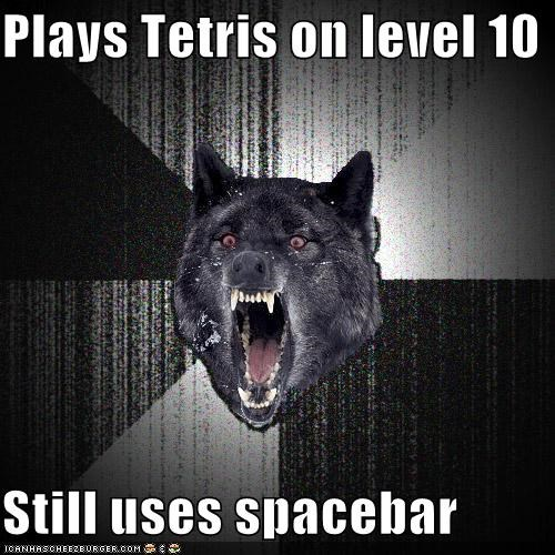 fast,Insanity Wolf,level 10,spacebar,tetris