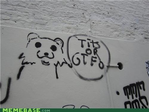 graffiti,gtfo,IRL,pedobear