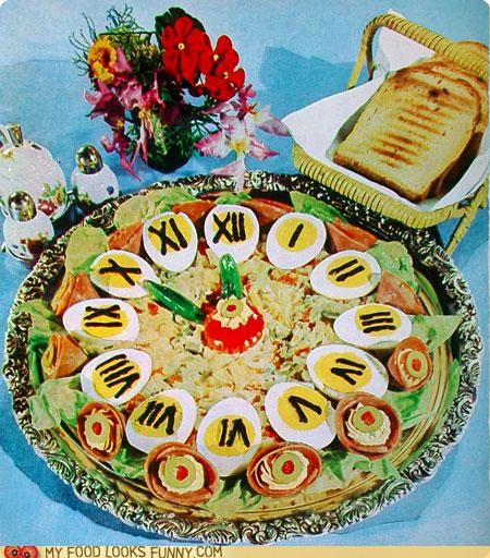 appetizers,clock,deviled eggs,dip,eggs,gross,numbers,platter